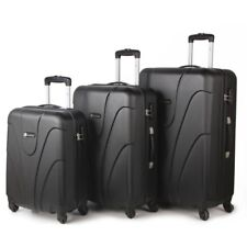 4 Wheel Lightweight Spinner Set of 3 Trolley Suitcase Luggage Case Bag Black