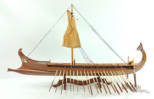 Bireme Ancient Oared Warship  - Handcrafted Model Ship Display Ready