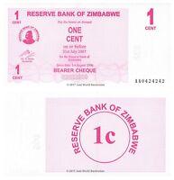 Zimbabwe 1 Cent 2006 P-33 First Prefix 'AA' Banknotes UNC