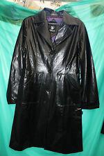 womns wet look shiny black raincoat DOLLHOUSE M faux leather mistress coat