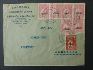 PORTUGAL AZORES stamps cover 1924 pharmacy Sao Miguel Island to Germany