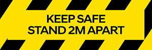 Keep Safe Stand 2m Apart Floor Social Distancing Sticker Warning Signs, 30x10cm