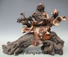 """15"""" Chinese Wucai Porcelain god of longevity Old Man red-crowned crane Statue"""