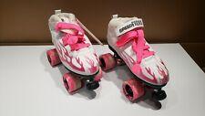 Rock Speed Freak Skates white with pink flame. Womens sz 8