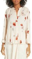 Vince Tossed Poppy Pleated Blouse Size Large Pale Blush