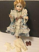 "Victorian Style Doll Dress/Light Blue-Satin/Lace-18""-19"" Doll ( B3)"