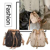 Fashion Drawstring Bucket Messenger Bag Women PU Leather Shoulder Handbag R1BO