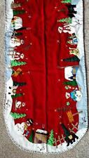 "LARGE 63"" Handmade Embroider Applique Bead SNOWMAN scene CHRISTMAS TABLE RUNNER"