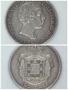 1856 PORTUGAL 500 REIS, PEDRO V (Young Head) (Silver Coin)