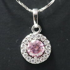 Sparkling Pink Sapphire Halo Pendant Necklace Women Wedding Engagement Jewelry
