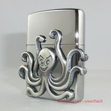 ZIPPO Feuerzeug OCTOPUS Krake High Polished Chrome in Rosenholz Box!! NEU OVP