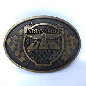 VTG Indianapolis Indy 500 76th Anniversary Cadillac Belt Buckle Motor Speedway