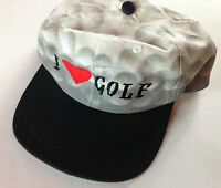 I Love Golf Snapback Hat VTG Heart Cap 80s 90s San Sun One Size Mens Adult Gift