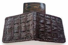 Genuine Real Bone Alligator Crocodile Skin Leather Man Bifold Dark Brown Wallet