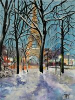 YARY DLUHOS Paris France Eiffel Tower Winter Snow City Original Oil Painting