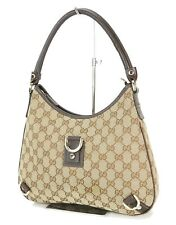 Authentic GUCCI Brown GG Canvas and Leather Tote Shoulder Bag Purse #10943