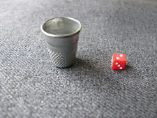 Vintage miniature plastic dice & aluminum thimble shaped shaker