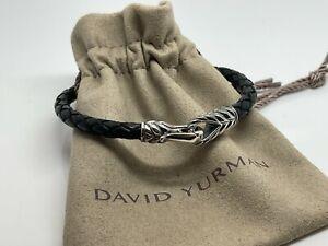 David Yurman Men's Sterling Silver Woven Black Leather Chevron Hoop Bracelet