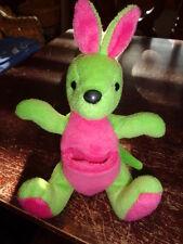 "Kangaroo hot pink green G.A.C. 1998 Vintage plush stuffed 6-7"" bean bag Rare"