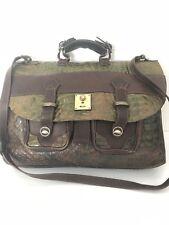 Leather Messenger  Bag Multi Pocket Croc Embosed Bohemian Hip Designer