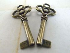 (Lot of 2) Open Barrel Skeleton Key Furniture Cabinet Wedding Pendants Charms