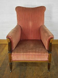 Antique vintage upholstered inlaid mahogany armchair - lounge reading chair