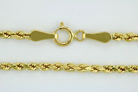 """10k Yellow Gold Real 2mm Diamond Cut Womens Rope Chain Link Bracelet Anklet 9"""""""