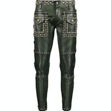 DSQUARED2 Studded Leather Trousers - Green - IT 48/UK 32/US 32