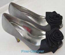 Michaelangelo CALISTA Silver sexy open toe Heels satin pumps Davids Bridal 6.5