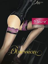 Seductive Fiore Obsession TENEBRA 20 Denier Sheer Lace Top Hold UPS Size 4 Large Black With Pink Lace