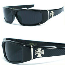 Choppers Bikers Mens Designer Sunglasses Free Pouch - Shiny Black Cross (Ck) C39