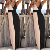 Women Strappy V Neck Long Maxi Dress Cocktail Summer Causal Beach Party Sundress