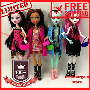 Monster High Dolls Monster 4pcs Set Body Girls Toys Wolf Draculaura Clothes Gift
