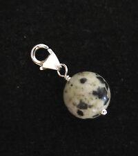 925 sterling silver 10mm DALMATIAN JASPER gemstone bead clip on charm pendant