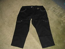 """AUTOGRAPH 3/4 BLACK STRETCH """"JEWELED"""" CROP JEANS-SIZE 18-NWT REDUCED PRICE"""