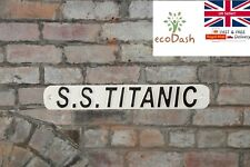 More details for new s. s. titanic black and white hand painted cast iron metal sign plaque