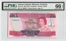 Solomon Islands ND (1977) P-7a PMG Gem UNC 66 EPQ 10 Dollars *Low S/N 272*