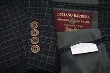 Luciano Barbera Sartoriale Blu Marrone Spesso 100% Lana Sport Giacca TG 48R