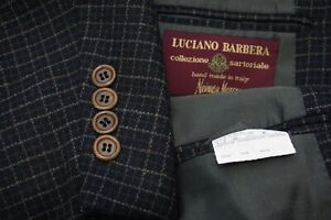 Luciano Barbera Sartoriale Blue Brown Thick 100% Wool Sport coat Jacket Sz 48R