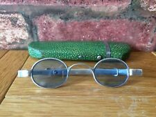 Antique Silver 1832 William IV Blue Tinted Wig Spectacles & Shagreen Case