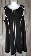 NWT DressBarn~22W Plus~Sleeveless Structured Sheath Dress Black White Trim