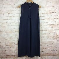 Eileen Fisher Women's Dark Blue Sleeveless Hemp Dress Size Small