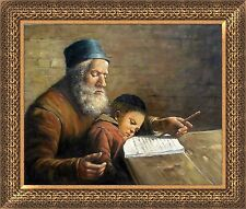Handmade Jewish Israel Judaica Hebrew Art Oil Painting Rabbi and Sleepy Child