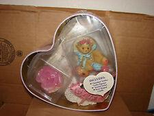 New Enesco Cherished Teddies Heart Tin Cecilia Figurine Rose Shape Candle Sachet