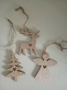 3 x Nordic style wooden christmas hanging decorations/present toppers