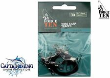 WIRE SNAP TRACES SIZE: 30CM/20KG QTY: 6 WIRE TRACE LEADERS FORCE TEN TACKLE 8339