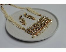 Indian Bollywood Kundan Jewellery long raani haar Set gold with pearl detail