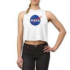 NASA Logo Crop Top - NASA Space Distressed Cropped Shirt - Womens NASA Crop Top