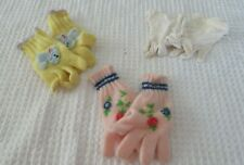 3 Pairs Precious Vintage Little Girl's Gloves, Yellow, Pink and White Exc