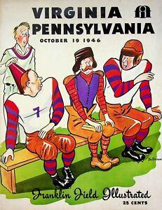 Vintage 1946 Pennsylvania vs Virginia College Football Program October 19